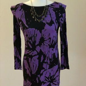 Tibi Purple and Black Mini Sheath Dress!